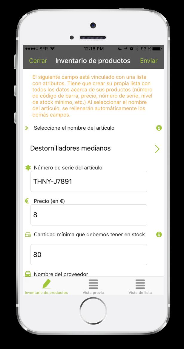 formulario de inventario