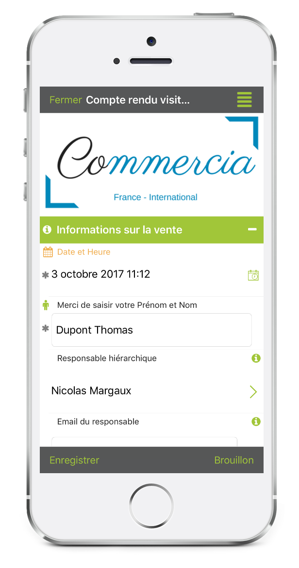 Formulaire de compte rendu de visite commerciale sur mobile avec Kizeo Forms
