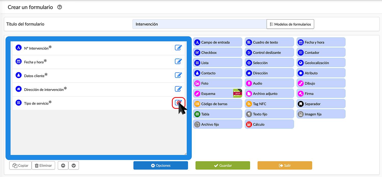 Backoffice pantalla de creación de formulario.