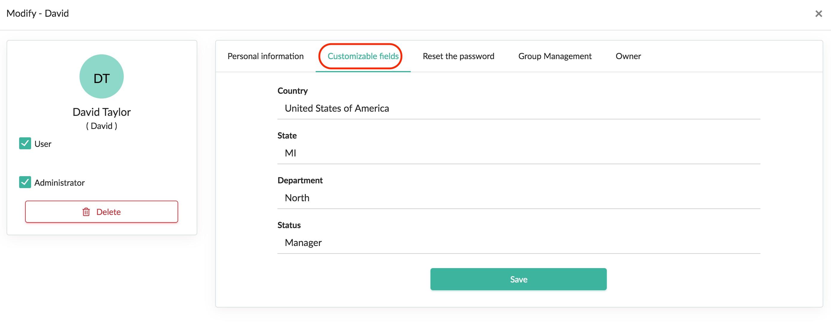 Modify customizable user fields