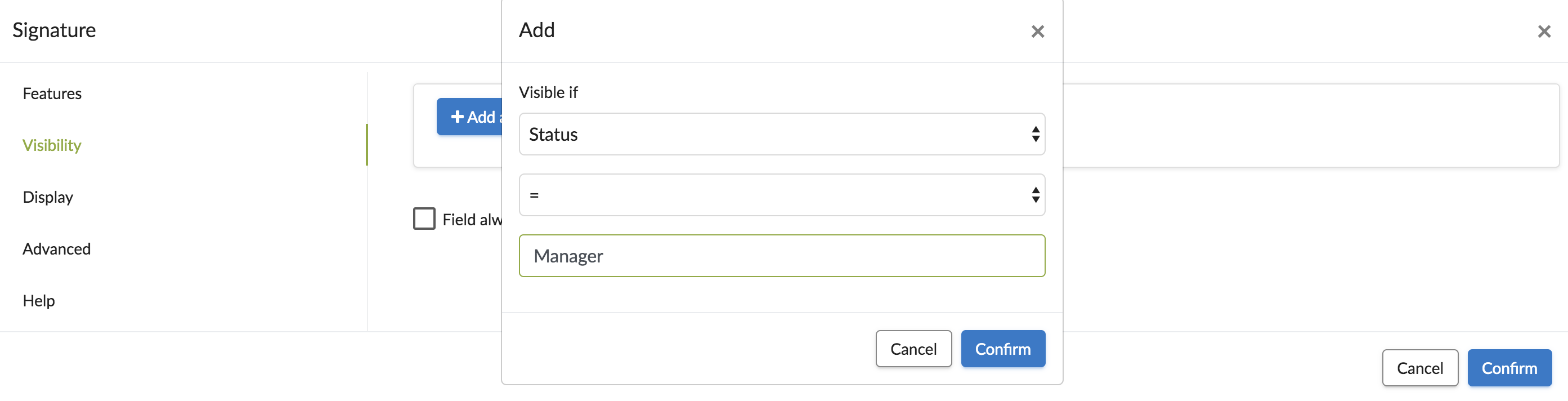 Visibility customizable user fields