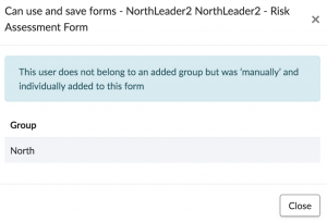 group manually and individually added to the form