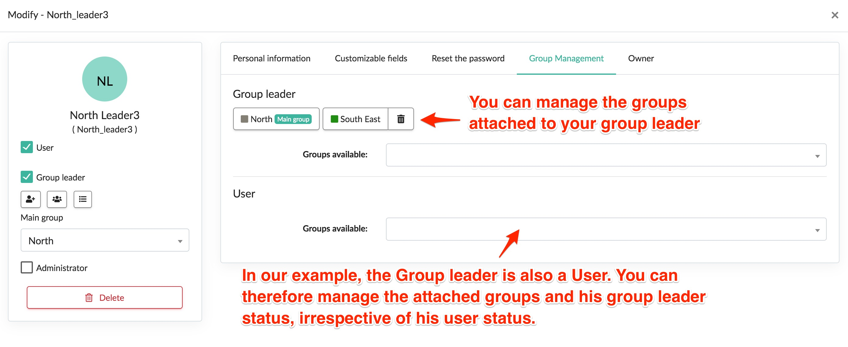 Group management tab in Kizeo Forms