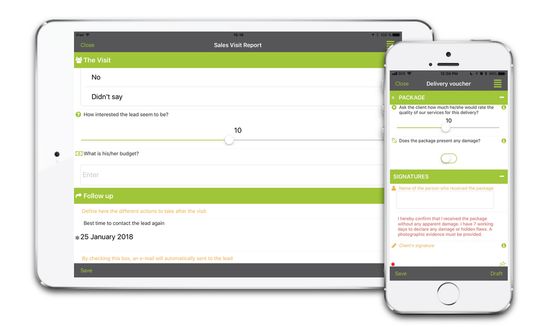 Kizeo Forms App on mobile devices