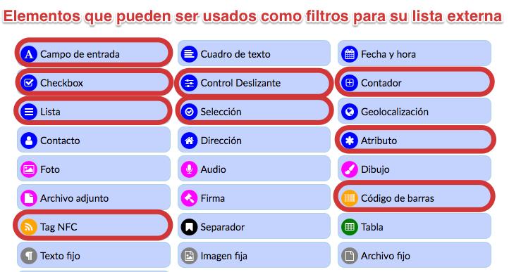 Elementos que pueden ser usados como filtro