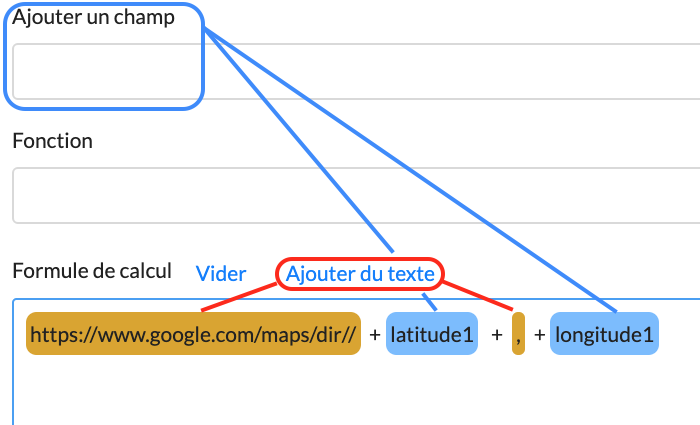 Affichage Google Maps via champ Calcul