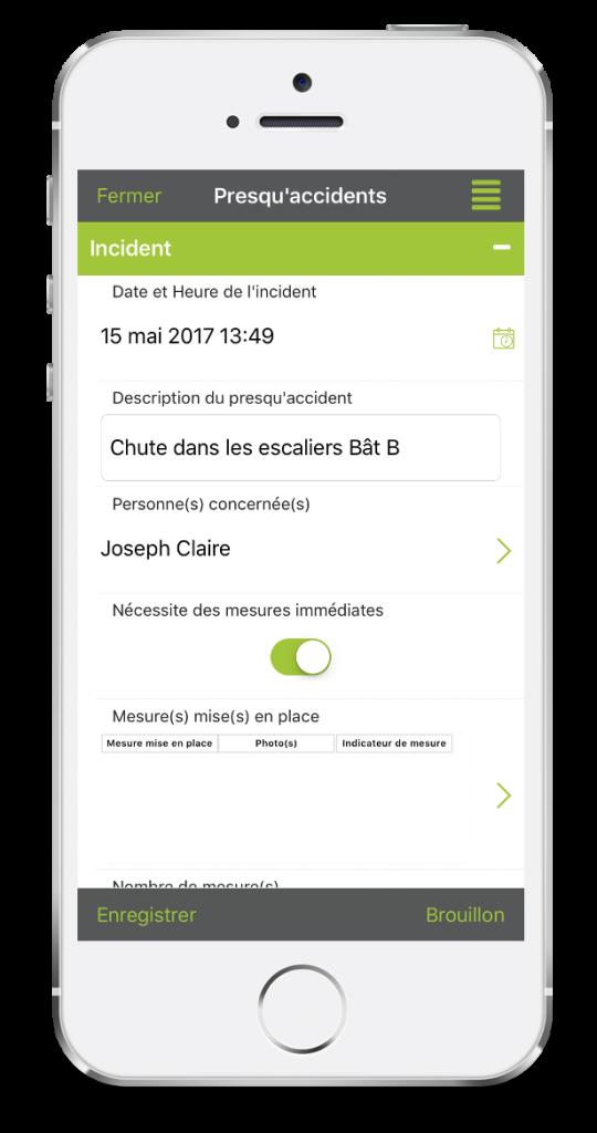 Formulaire Fiche d'incidents sur mobile avec Kizeo Forms.