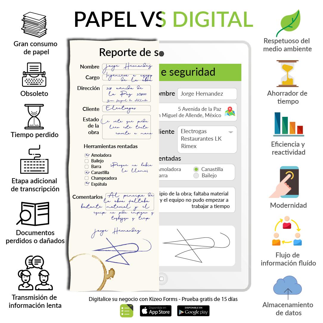 Formulario digital contra formulario papel
