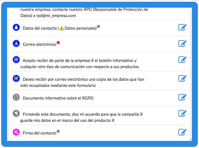 Formulario de contacto digital en conformidad con el RGPD