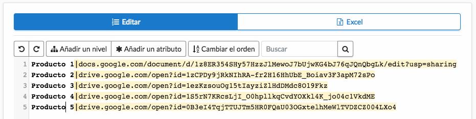 Lista externa con enlaces de documentos Drive