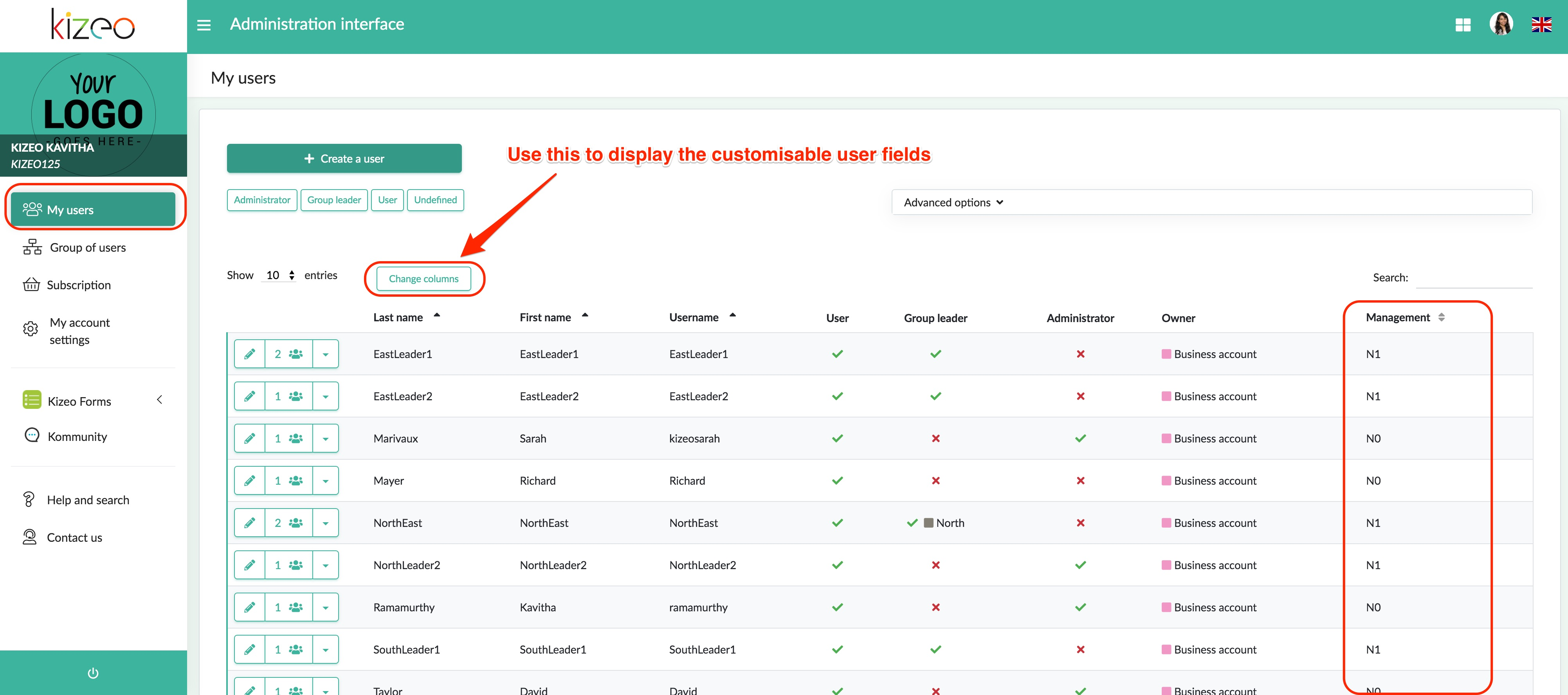 customizable user field management