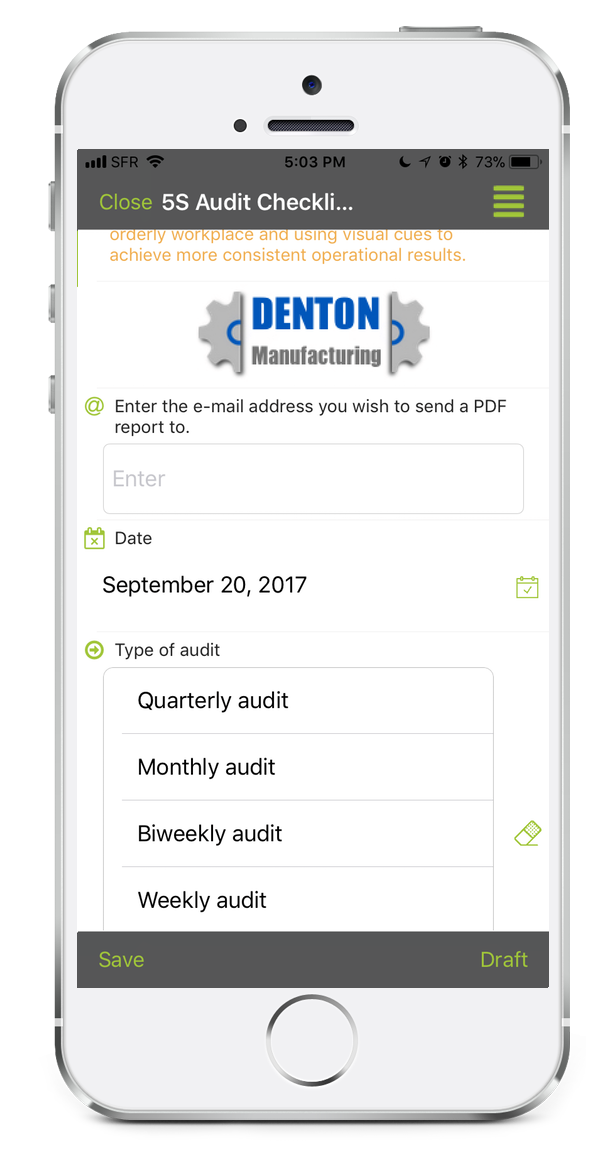 5S Audit Checklist with Kizeo Forms from your smartphone or