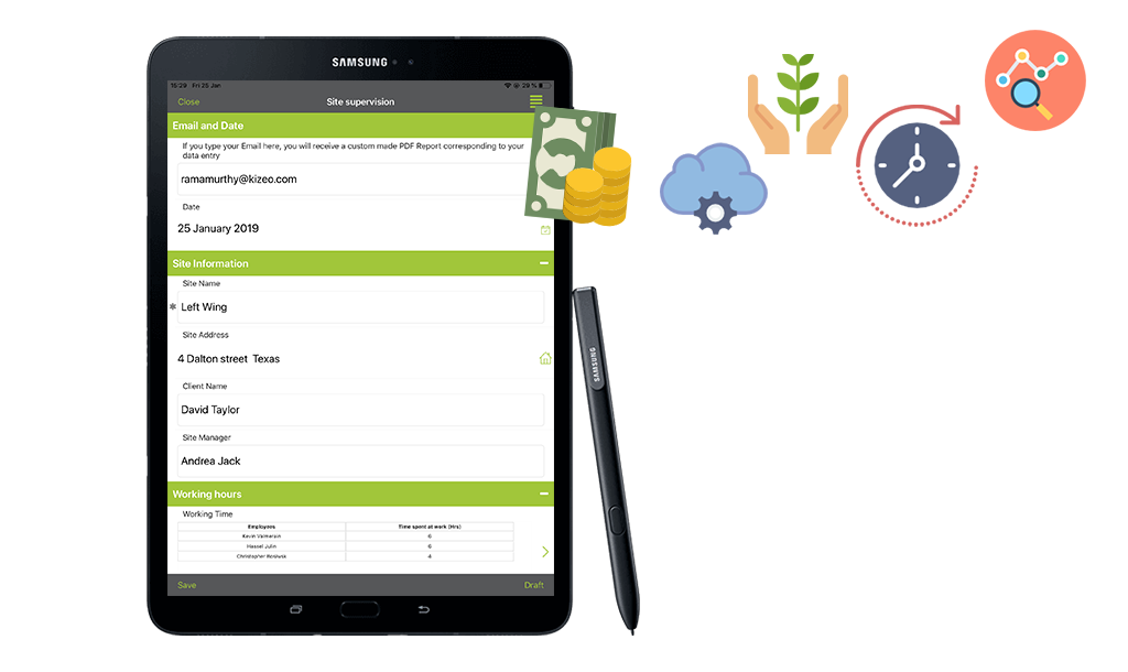 Construction forms on a tablet