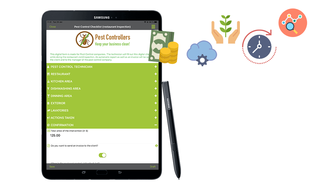 Pest Control Inspections on ipad
