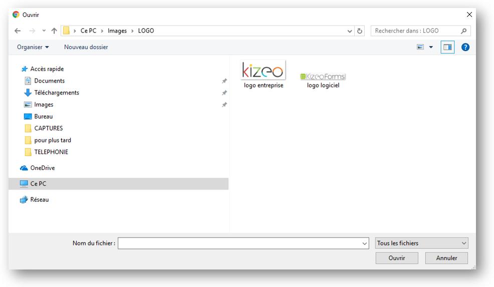Paramétrer le logo dans l'onglet paramètres choisir image