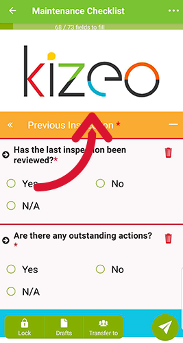 When you open the form on the mobile device the logo will be displayed.