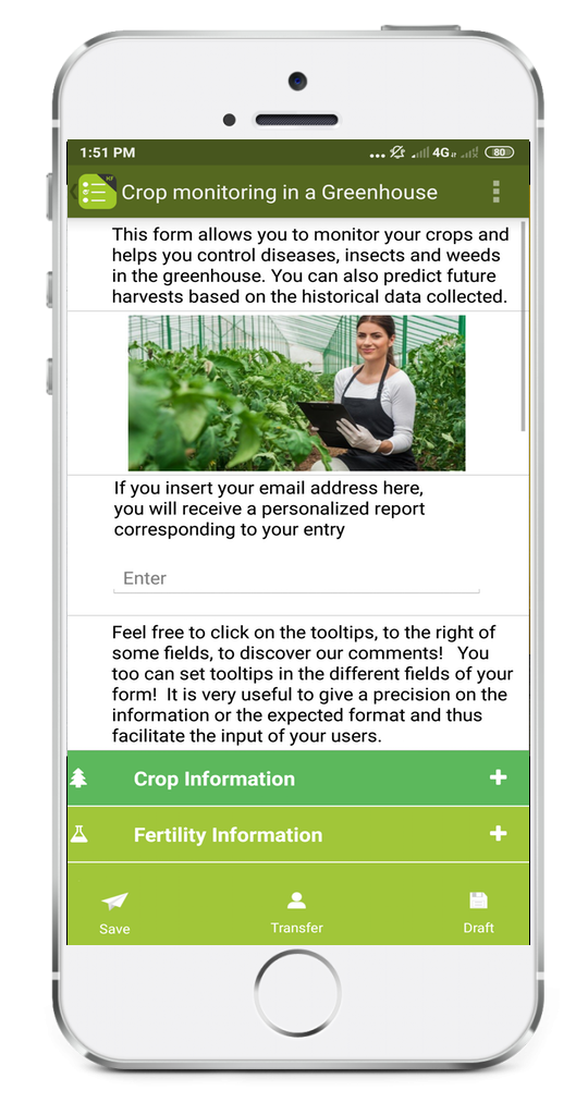 Crop monitoring in a greenhouse