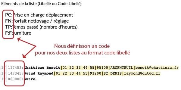 Attribuez un code à vos éléments listes et choix