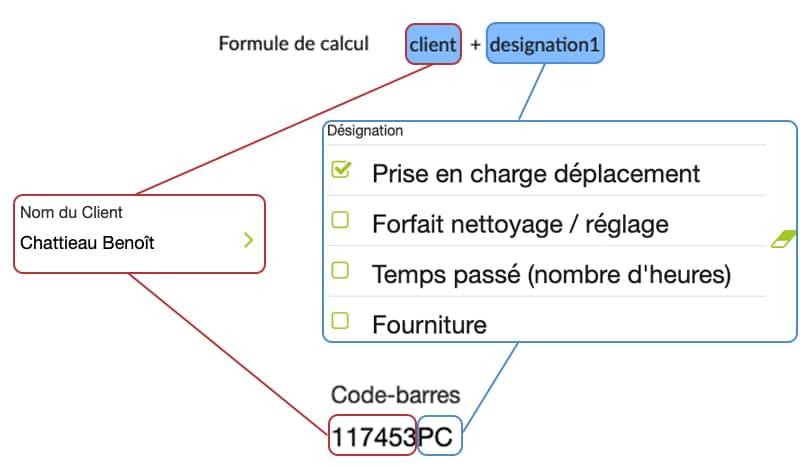 Afin de concaténer, nous ajoutons ensuite ces champs les uns à la suite des autres dans notre élément Calculséparés d'un +