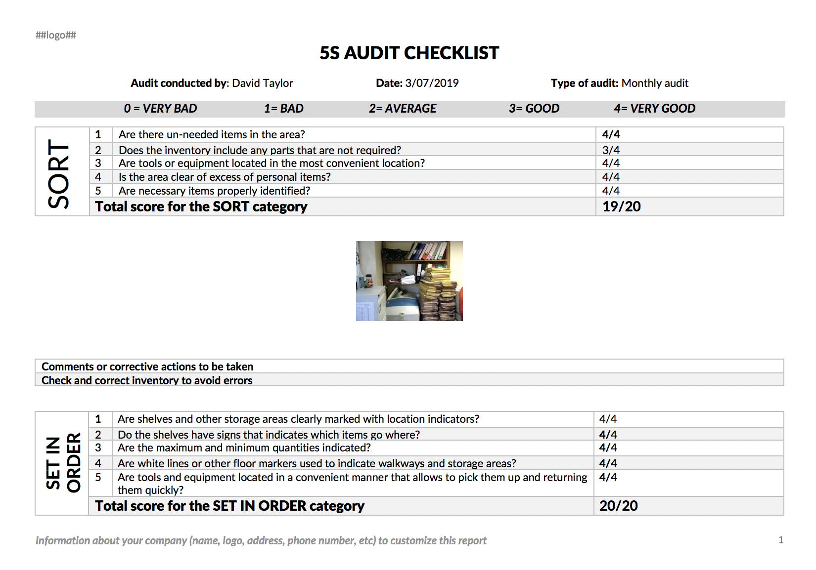 5 S Audit report example with Kizeo Forms