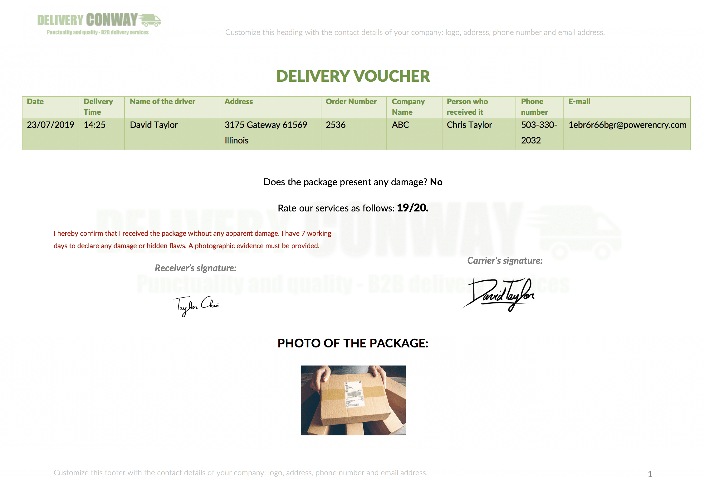 Delivery voucher report example with Kizeo Forms