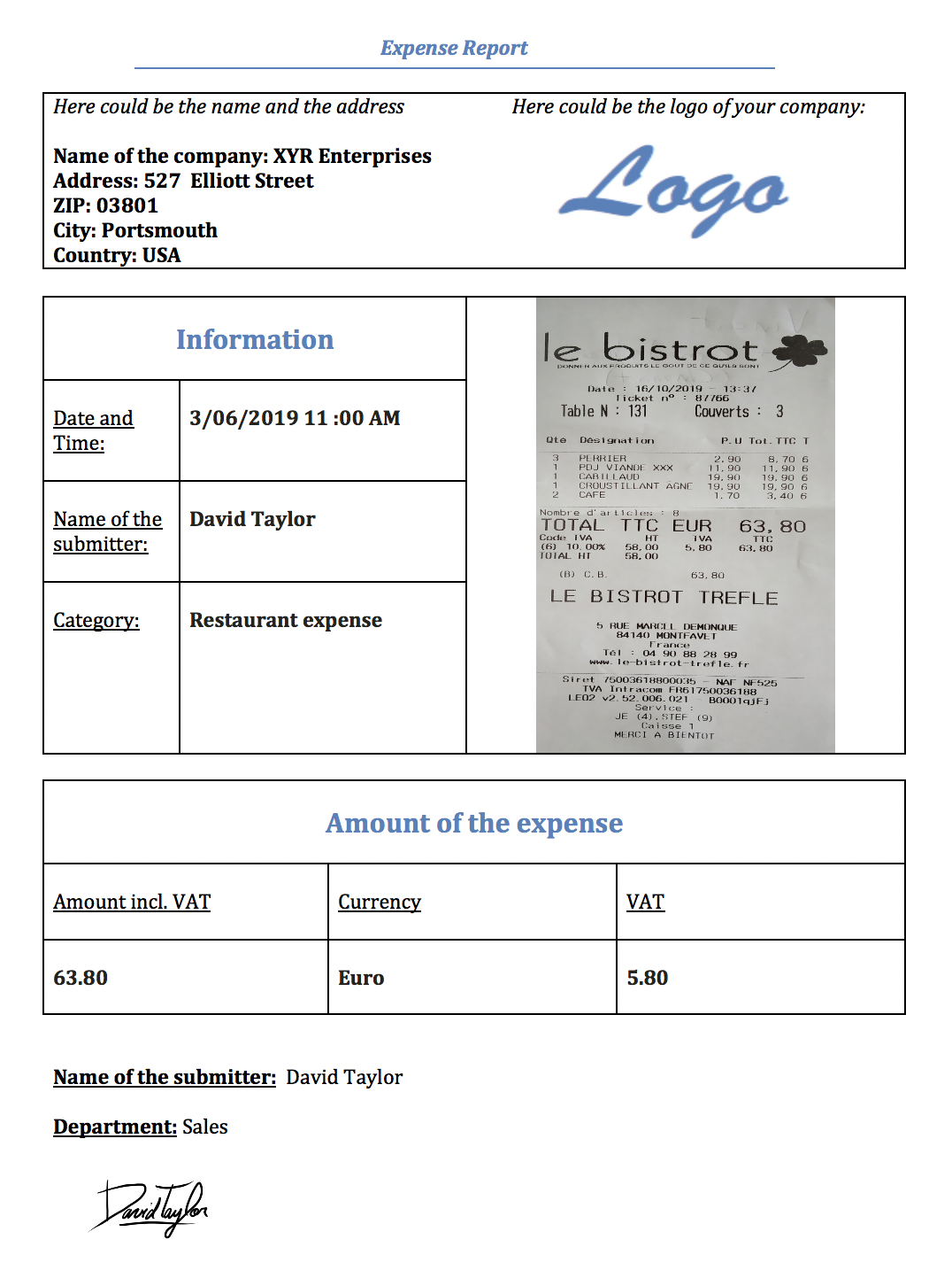 Expense report example with Kizeo Forms