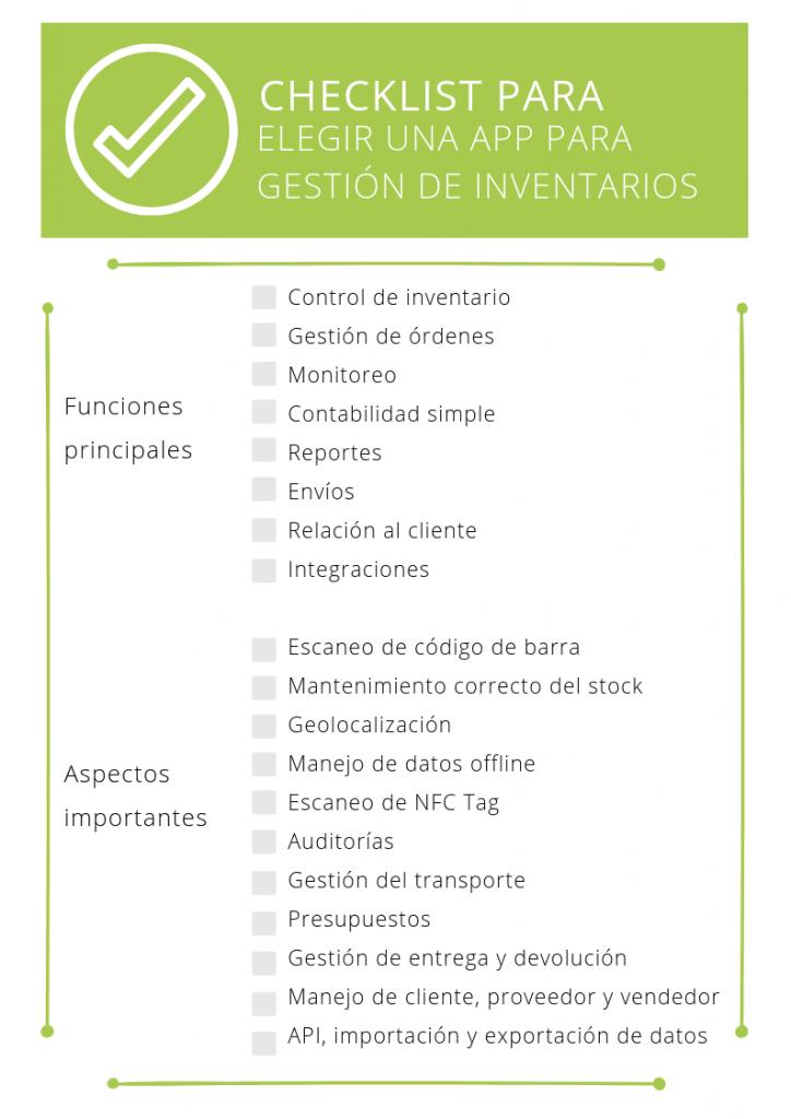 CHECKLIST PARA ELEGIR APP DE INVENTARIO