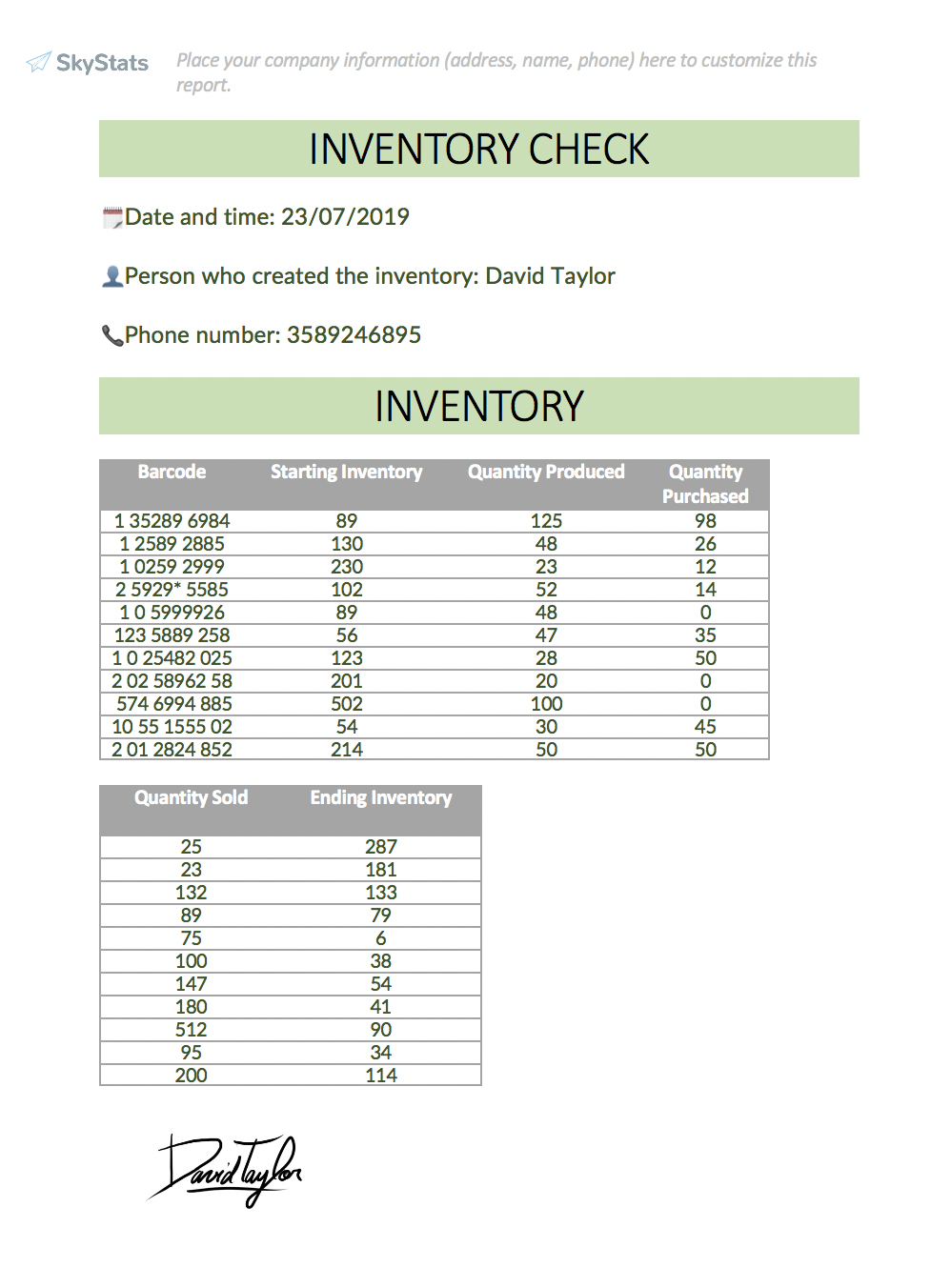Inventory report example with Kizeo Forms