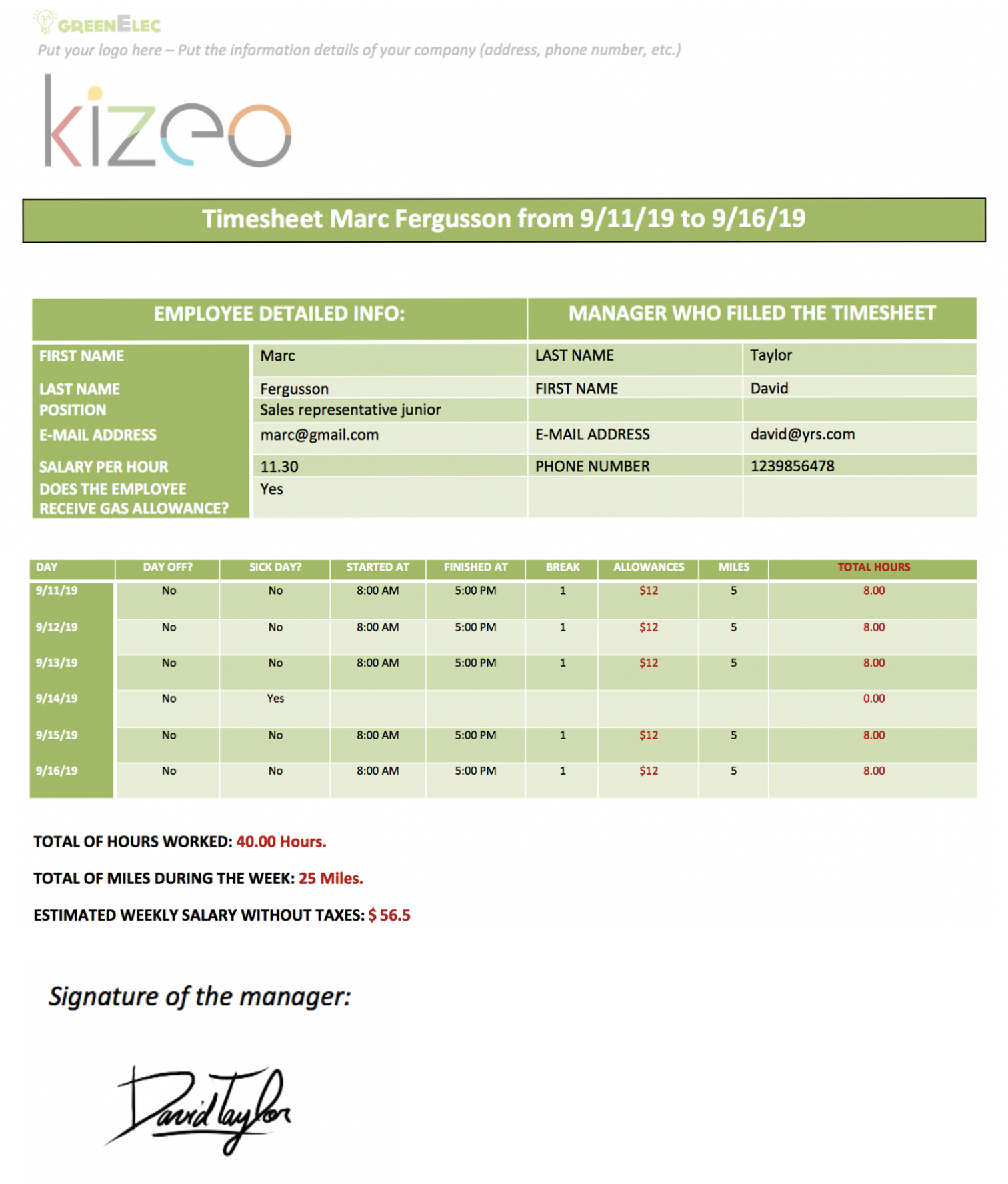 Timesheet app example with Kizeo Forms