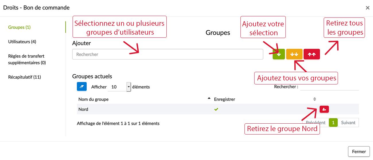 Configurez les droits d'accès à votre formulaire pour les différents groupes d'utilisateurs.