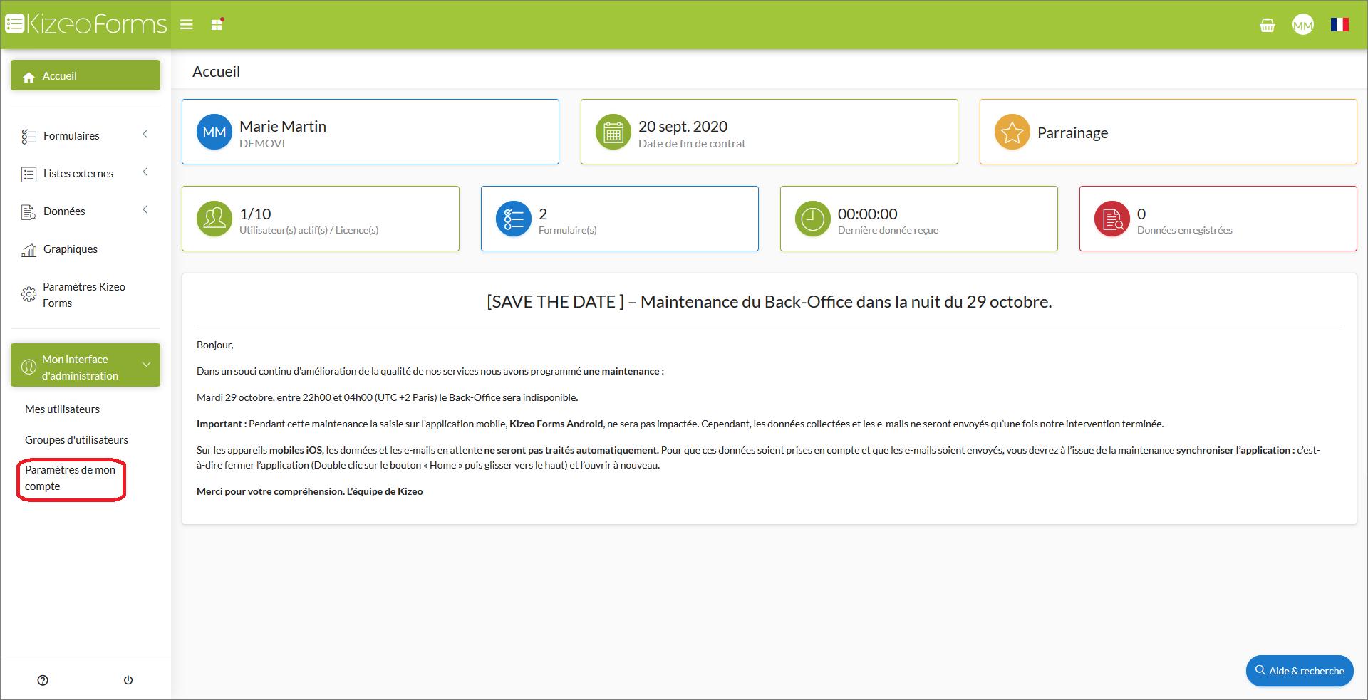où trouver le menu champ utilisateurs personnalisés