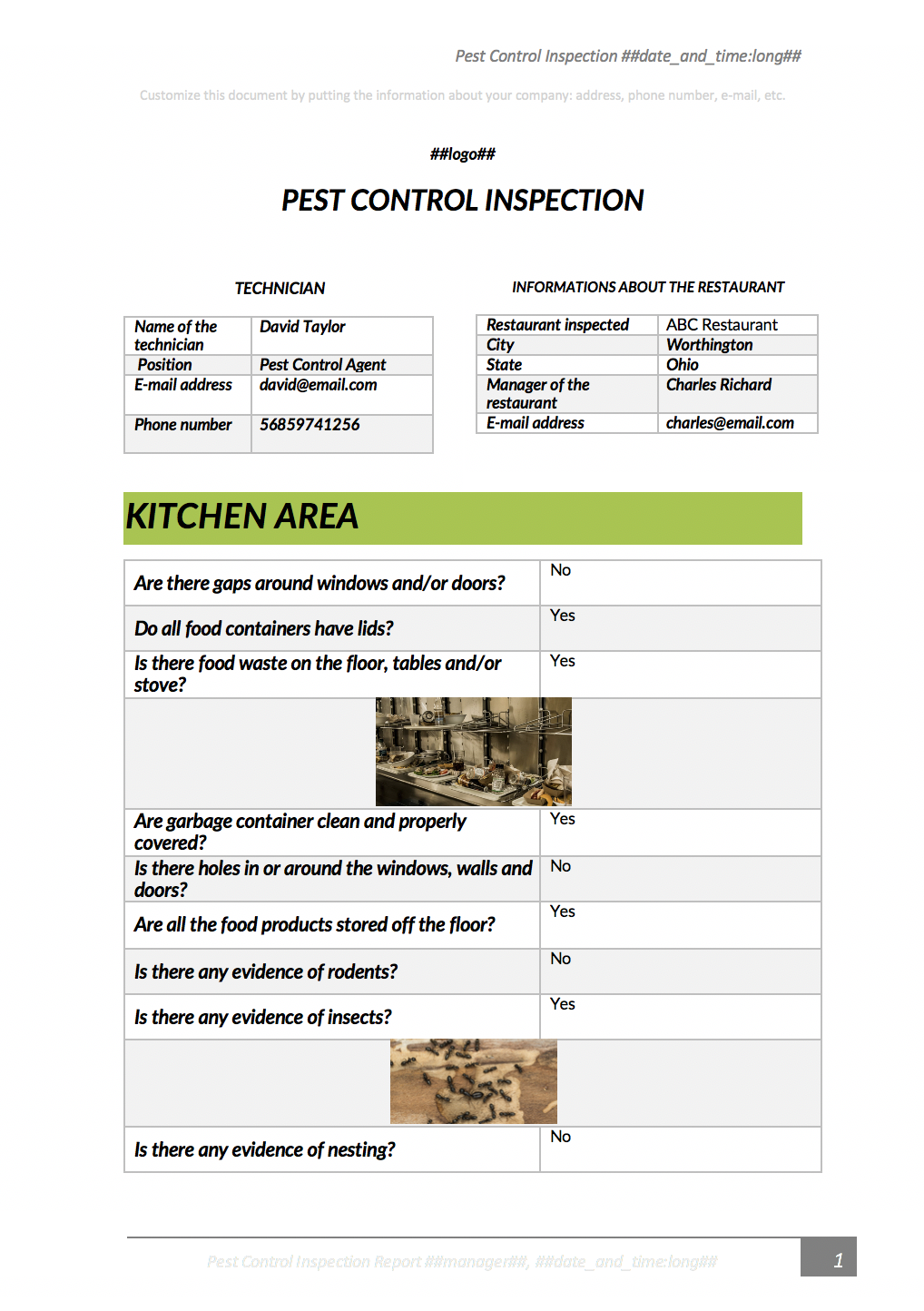 Pest control inspection report example with Kizeo Forms