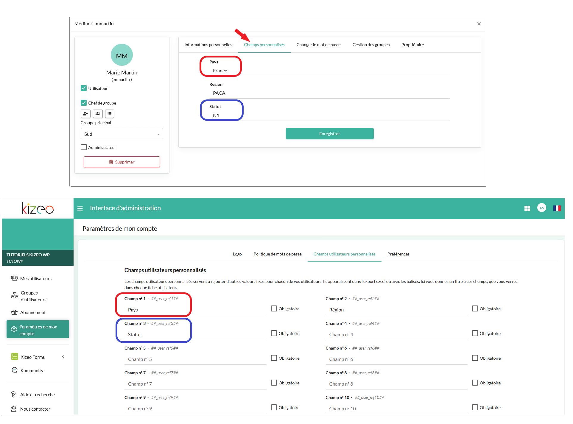 """Retrouvez le numéro d'User ref dans la rubrique """"Champs d'utilisateurs personnalisés""""."""