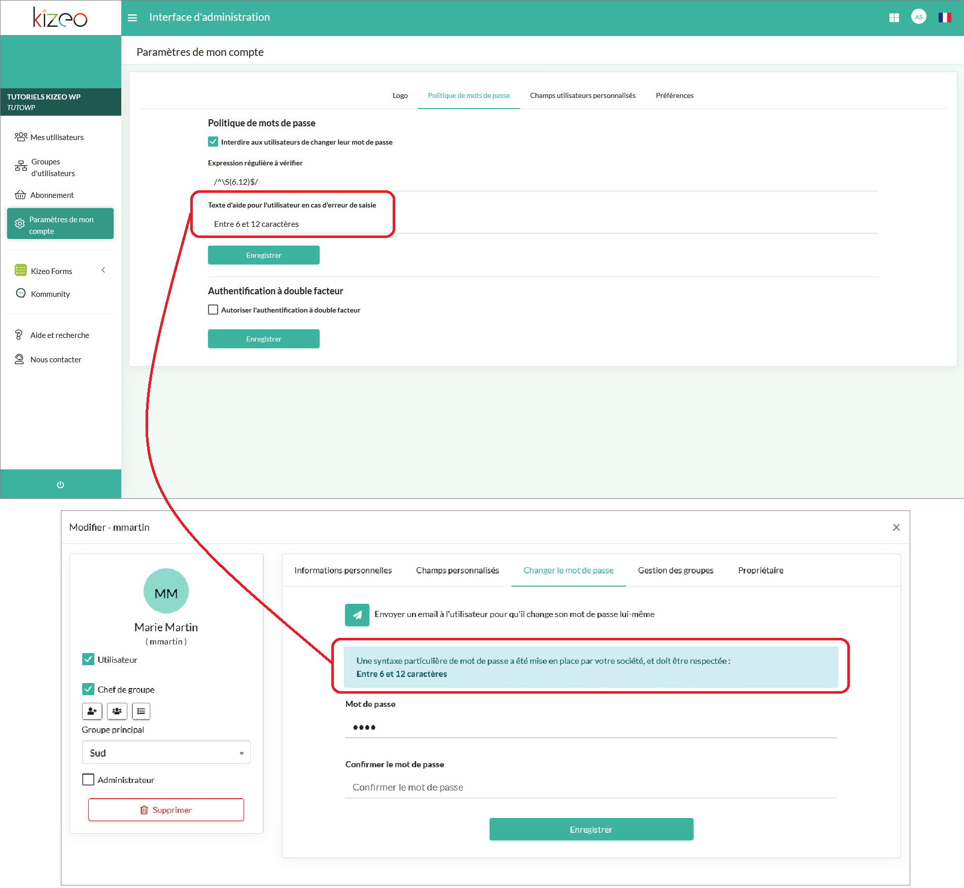 configuration de votre politique de mot de passe