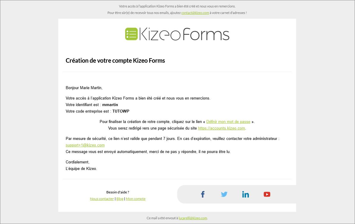 Mail de création du mot de passe pour votre utilisateur