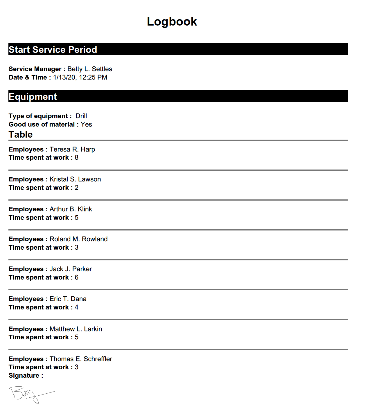 Security logbook template example with Kizeo Forms