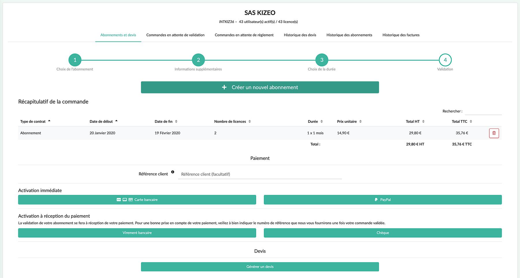 Sélectionnez votre moyen de paiement afin d'activer votre nouvel abonnement Kizeo Forms