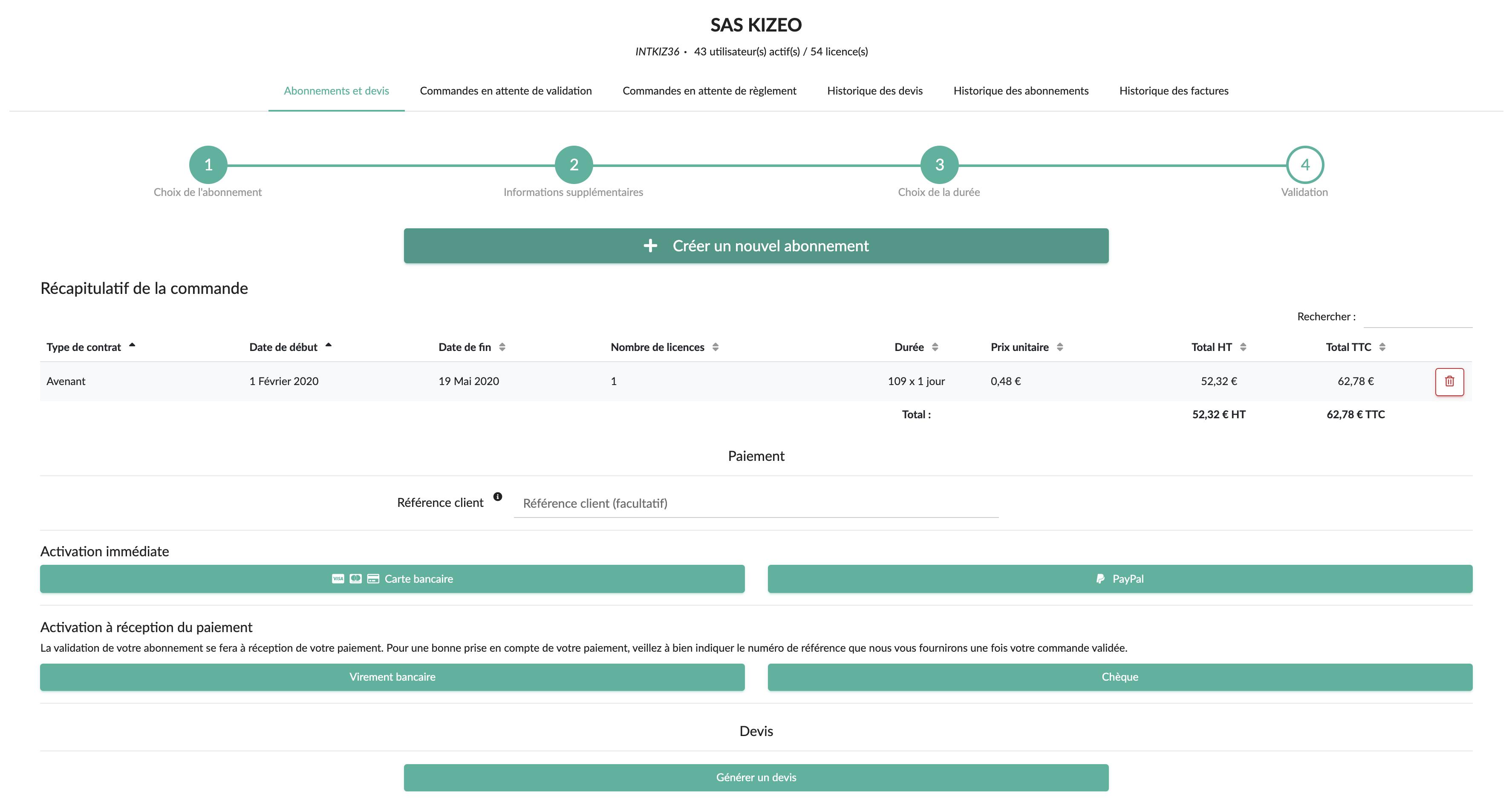 Sélectionnez votre moyen de paiement afin d'activer votre avenant Kizeo Forms