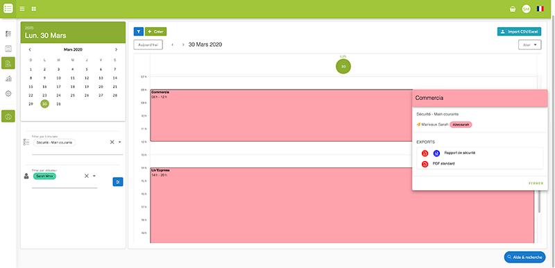 Cliquez sur une donnée afin d'afficher son statut et son/ses export(s).