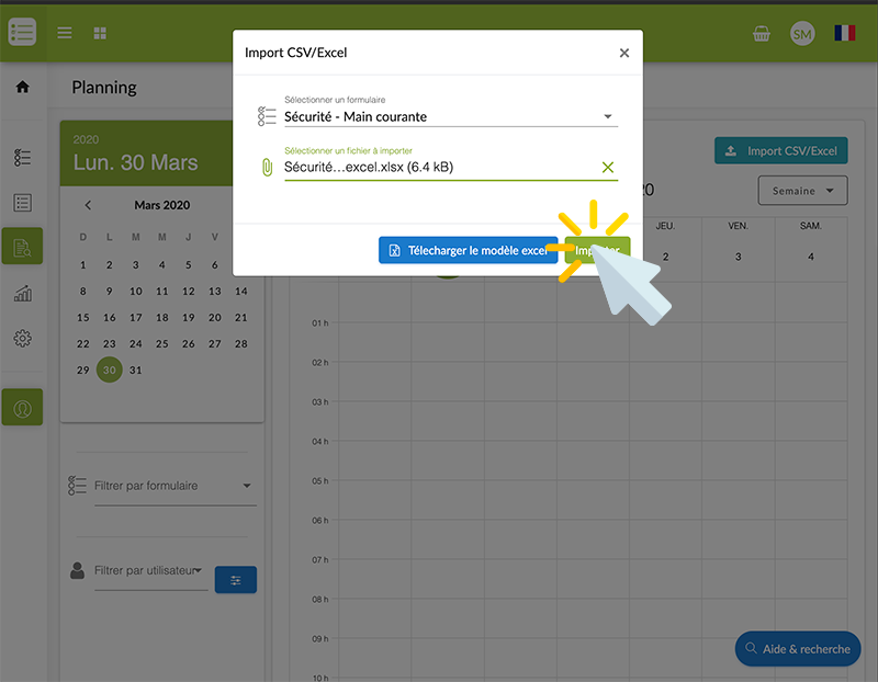 Choisissez votre fichier Excel préalablement préparé en cliquant sur Sélectionner un fichier à importer