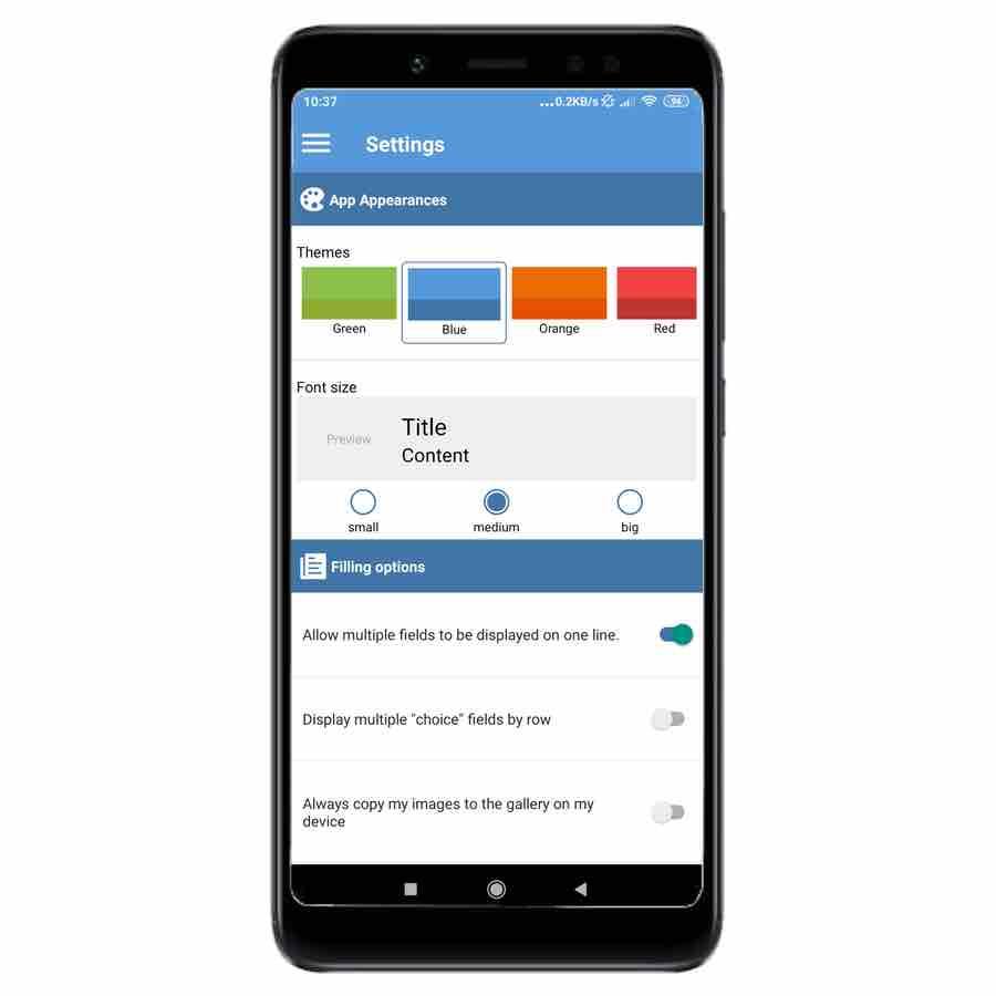 New app Kizeo Forms customization