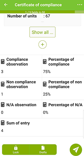 Percentage of compliance