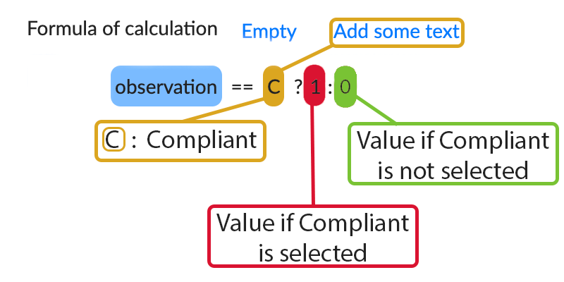 "In our example, we set it to calculate the conformity of our ""Compliance observation"" field."