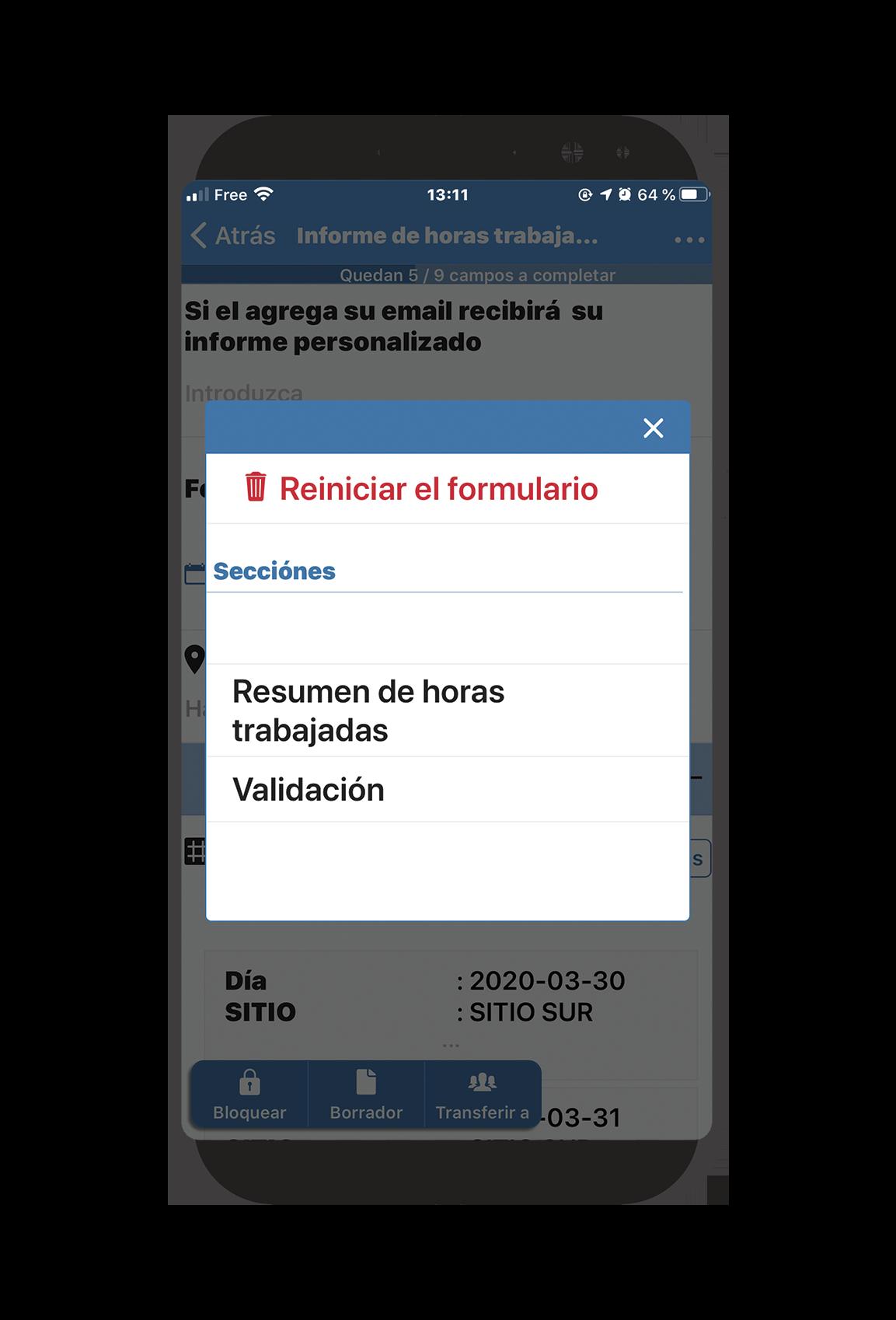reiniciar formulario