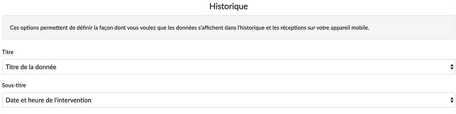 Ajoutez votre champ calcul en tant que titre pour votre donnée via les options de votre formulaire, onglet Historique.