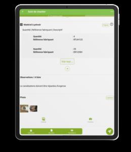 Une tablette avec un formulaire Kizeo Forms