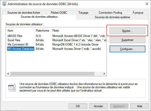 Administrateur de source de données ODBC (64 bits)