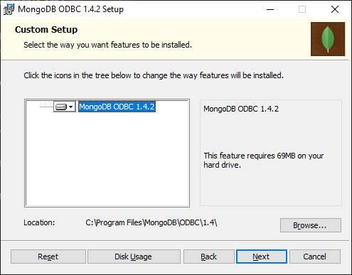 Choix dossier installation ODBC MongoDB
