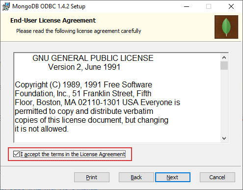 Acceptation licence ODBC MongoDB