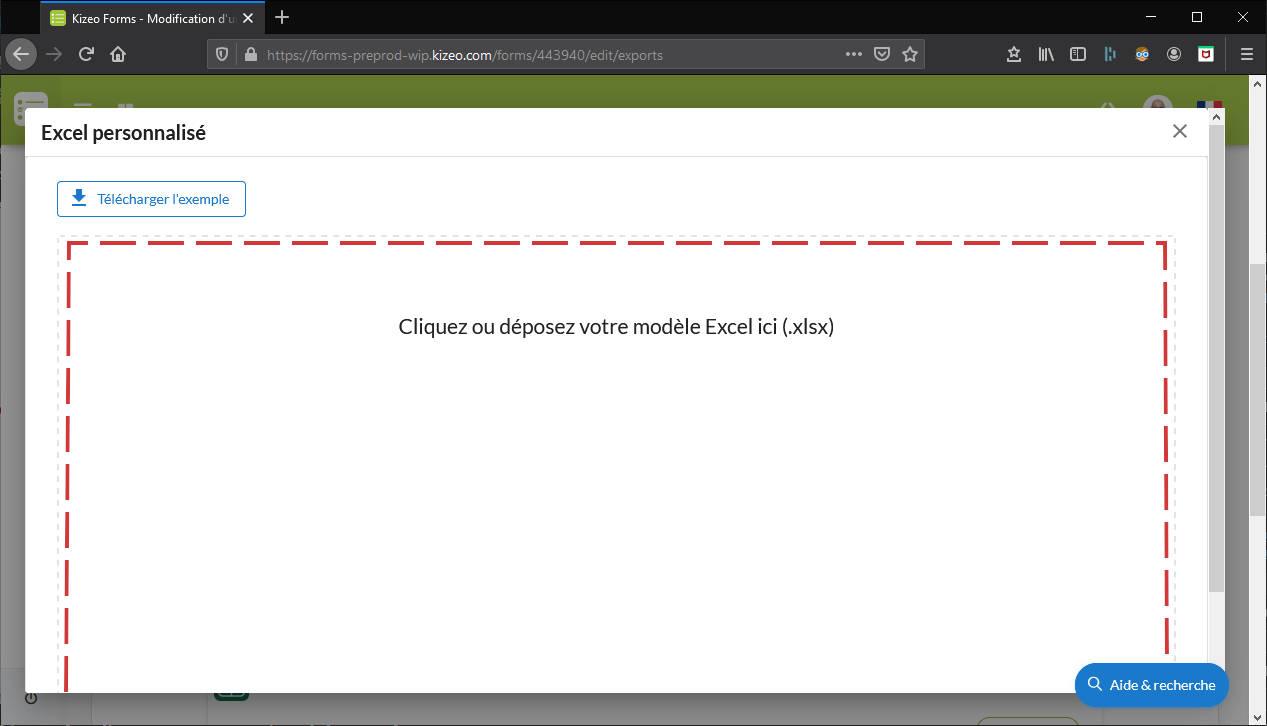 Déposer modèle export Excel personnalisé